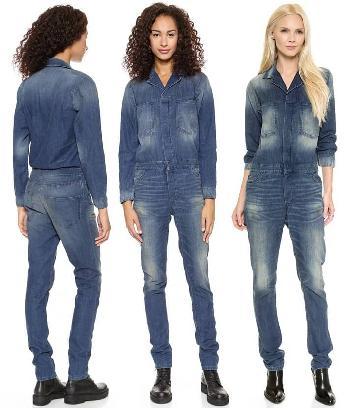 6397 Blue Dirty Faded Denim Jumpsuit