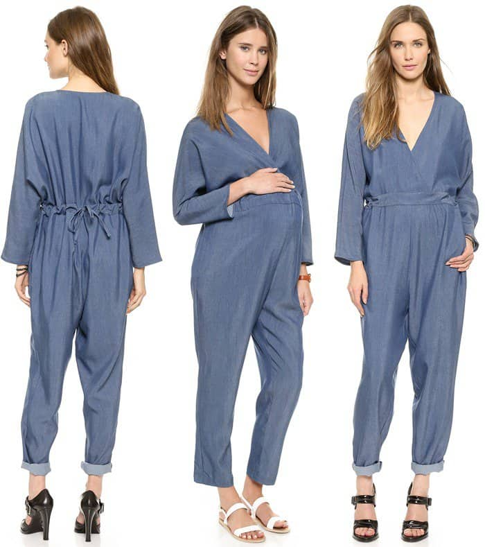 Hatch Blue The Long Sleeve V Neck Jumpsuit