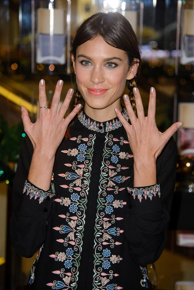 Alexa Chung attends a photocall to launch Nails Inc: The Alexa Editions at Selfridges