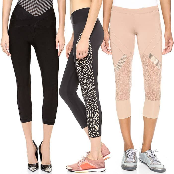 Herve Leger Cropped Leggings / Blue Life Fit Laser-Cut Leggings / adidas by Stella McCartney Starter 3/4 Tight Leggings
