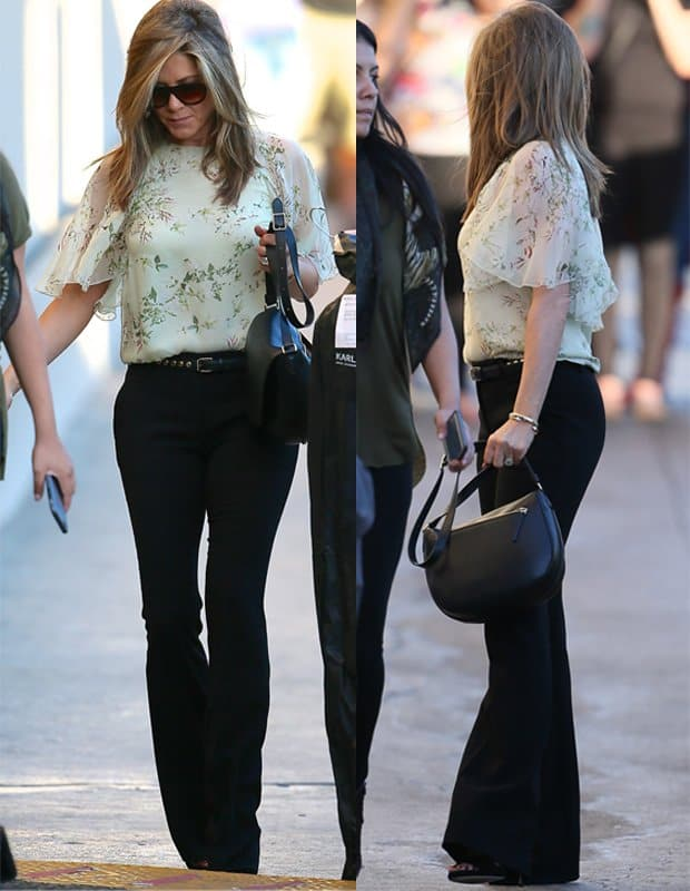 Jennifer Aniston seen arriving at Jimmy Kimmel Live in California on November 25, 2014