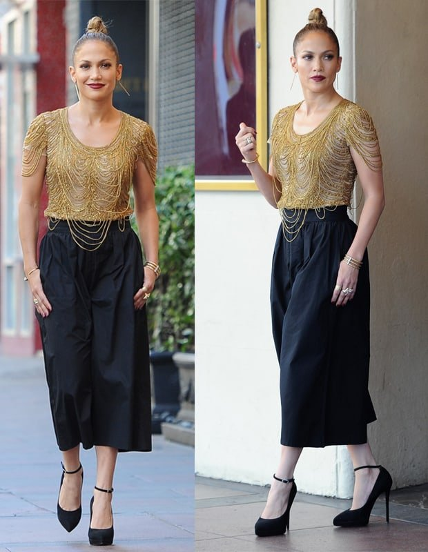 Jennifer Lopez wearing Alice + Olivia high-waisted pleated gaucho pants