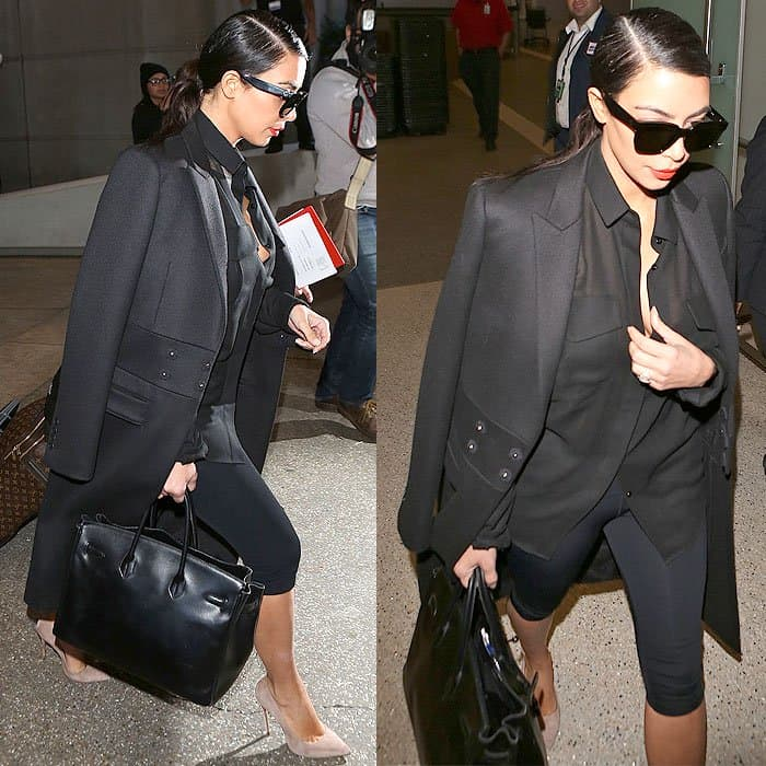 Kim was most recently spotted rocking cropped leggings upon arriving at LAX from Dubai