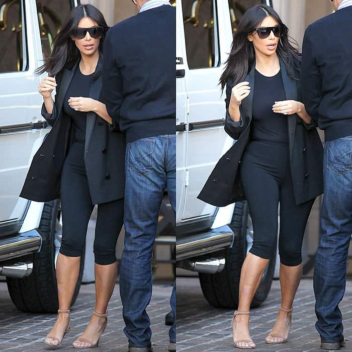 Kim's first attempt was to pair black cropped leggings with a black bodysuit and a black long blazer