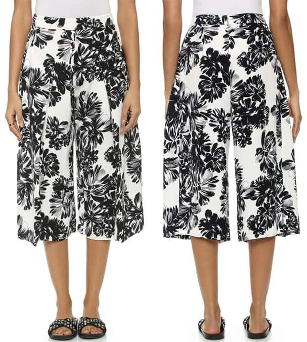Deep pleats and a wide-leg silhouette lend a relaxed feel to fluid, mid-weight crepe Rebecca Taylor culottes