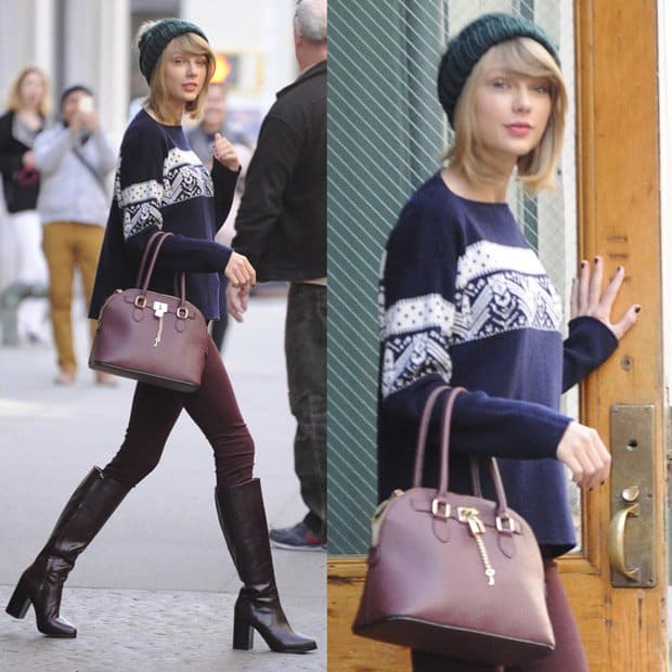 Taylor Swift leaving her apartment in New York wearing a beanie hat, jumper, knee-high boots and carrying a handbag in New York on November 13, 2014