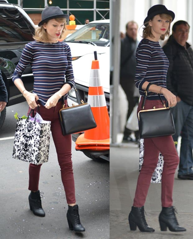Taylor Swift wears a fedora hat and jeans while running errands