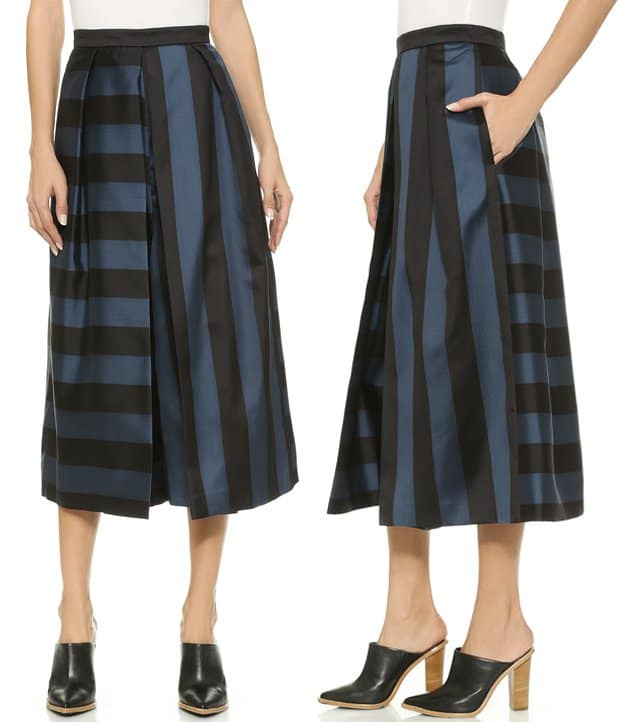 Deep pleats create a cool, swingy profile on these striped Tibi trousers.