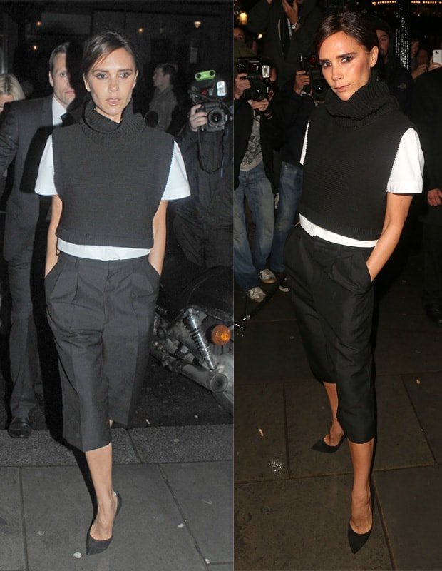 Victoria Beckham attends the Vogue party in black comfy culottes during London Fashion Week SS14 at on September 15, 2013 in London, England