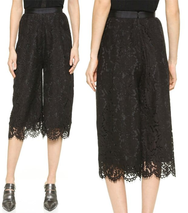 Cropped, wide-leg Whistles pants in elegant lace
