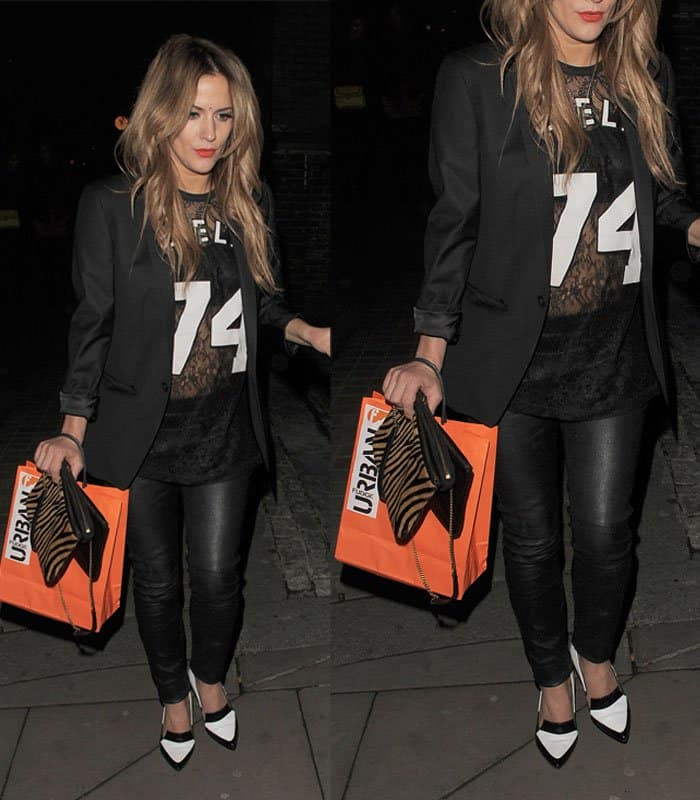 Caroline Flack leaving Shoreditch House in London on March 25, 2014