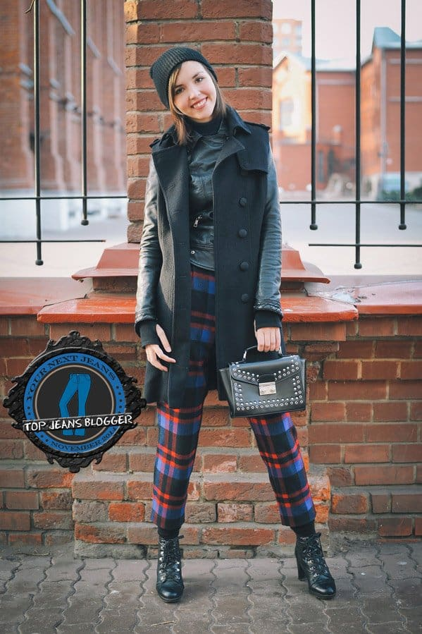Daria shows how to wear tapered plaid pants with black boots
