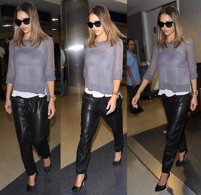 Jessica Alba wearing loose-fitting trousers