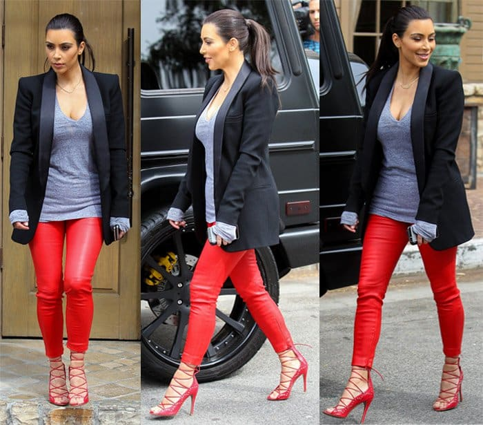 Kim Kardashian wearing eye-popping red leather pants