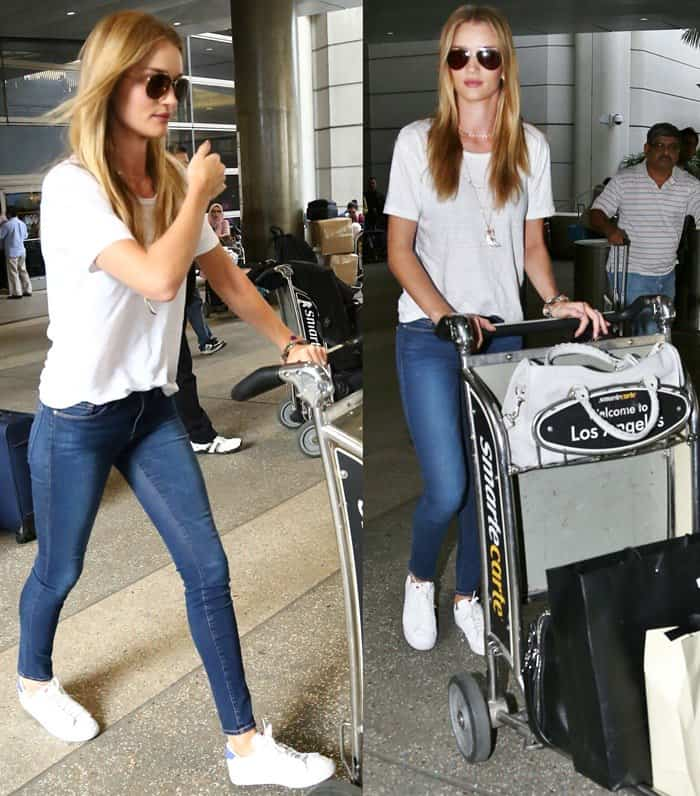 Rosie Huntington-Whiteley rocks Verdugo ultra-skinny jeans by Paige through security