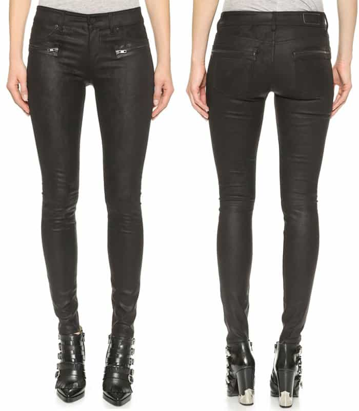 RtA Hip Zip Leather Jeans