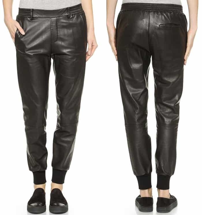 Vince Garment Wass Leather Jogger Trousers