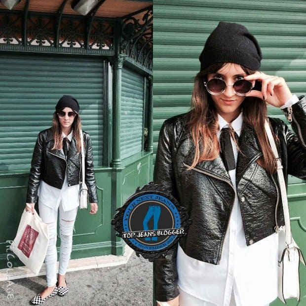 Ylenia shows how to wear white ripped pants with a leather moto jacket