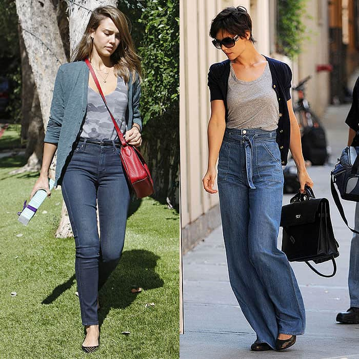 Jessica Alba and Katie Holmes wearing high-waist jeans