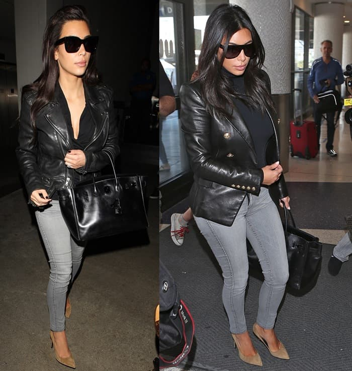 "Kim Kardashian sported ""Detour "" reversible denim leggings by Bleulab, a structured blazer by Balmain, a ""Colorado"" stretch-jersey turtleneck bodysuit by Wolford, Yves Saint Laurent sunglasses, a ""Birkin"" bag by Hermes, and a pair of pointy-toe ""Paris"" pumps by Saint Laurent"