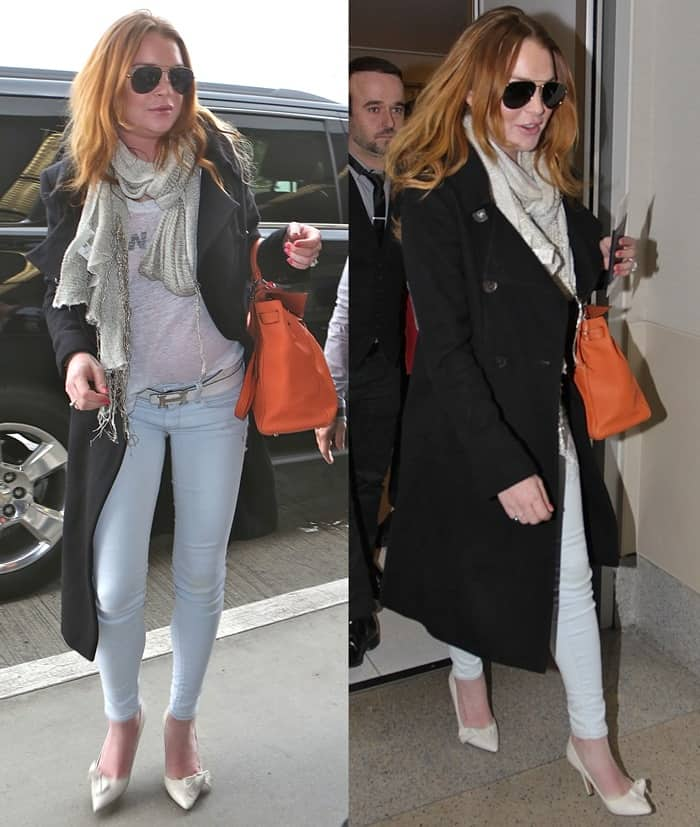 "Lindsay Lohan wore a black coat, a scarf, a gray top, aviators, Isabel Marant ""Poppy"" pumps, and an orange Hermes bag"