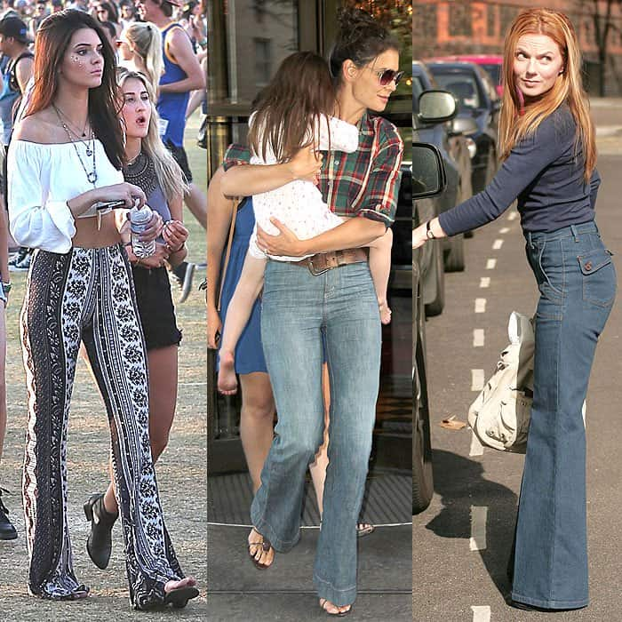 Celebrities wearing flared high-waist jeans