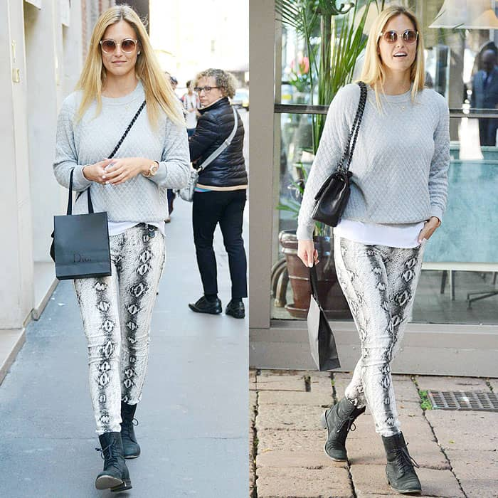 Bar Rafaeli wears snake-print jeans with combat boots