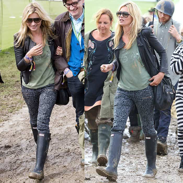 Kate Moss shows that all that's needed with snake-print jeans are a leather jacket and tough boots