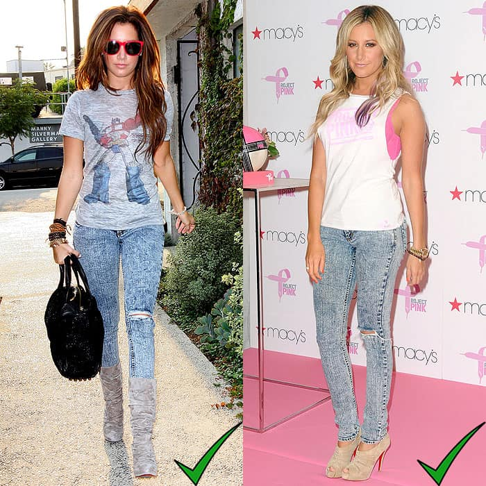 Ashley Tisdale wearing acid wash jeans with other '80s-style clothes