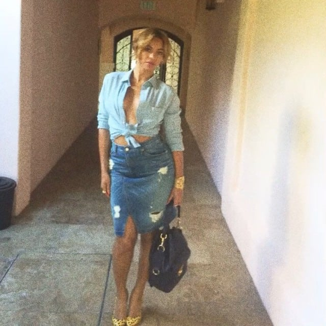 Beyonce's double-denim outfit-of-the-day Instagram post