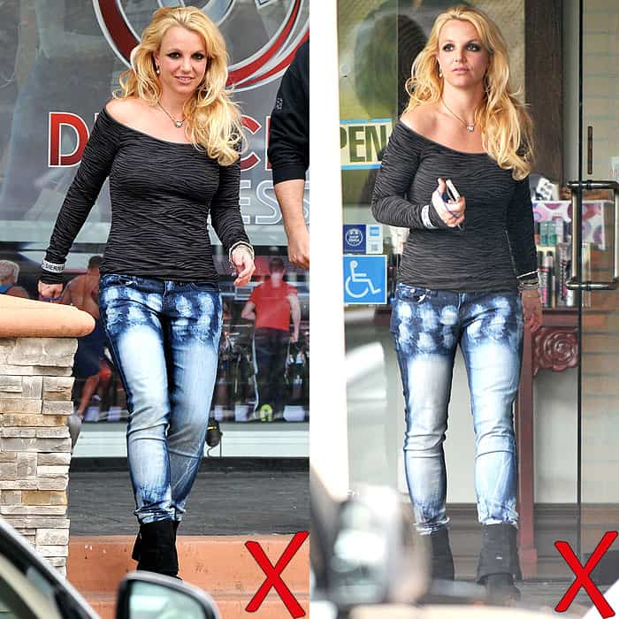 Britney Spears wearing acid wash jeans