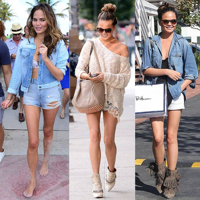 Chrissy Teigen denim shorts