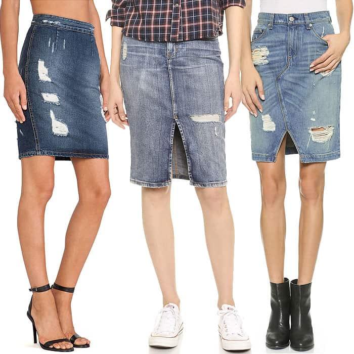 """Lovers + Friends """"Miles"""" Denim Skirt / Current/Elliott High-Waist Denim Pencil Skirt / Rag & Bone/JEAN Shredded Denim Skirt"""