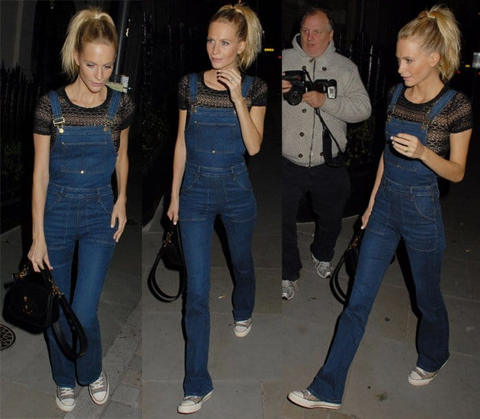 Poppy Delevingne rocks high-rise waist overalls with defined patch pockets