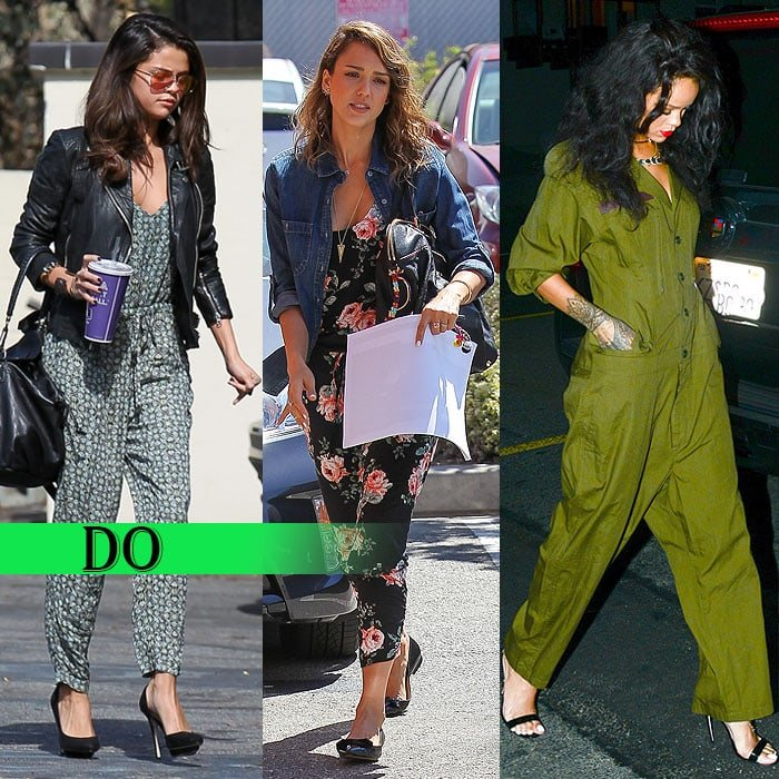 8cf6e2eef Selena Gomez, Jessica Alba, and Rihanna wear casual jumpsuits the right way.