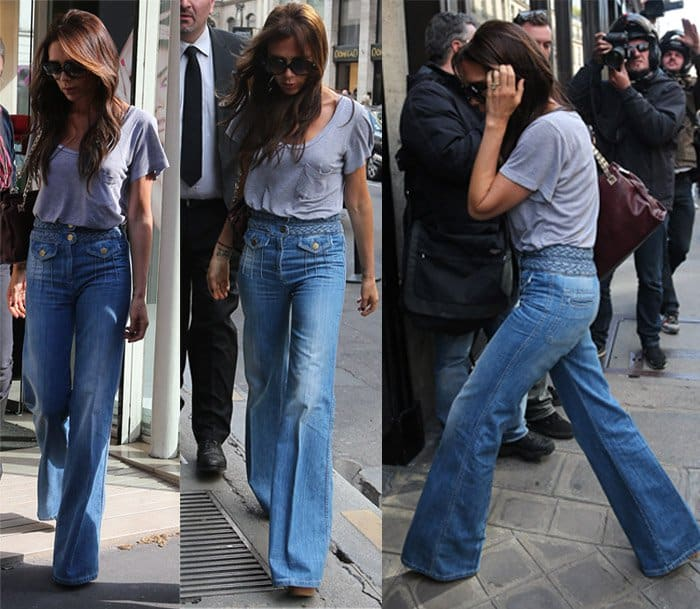 Victoria Beckham does some shopping in flared jeans at Eres