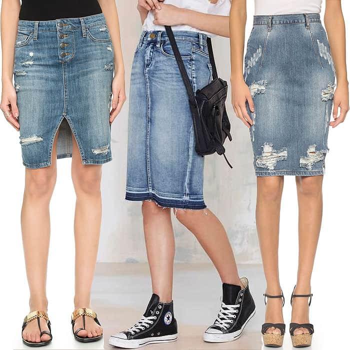 "Joe's Jeans Button-Up Denim Pencil Skirt / Blank NYC ""Cry Baby"" Ripped-Hem Denim Skirt / One Teaspoon Dusty ""Free Love"" Denim Skirt"