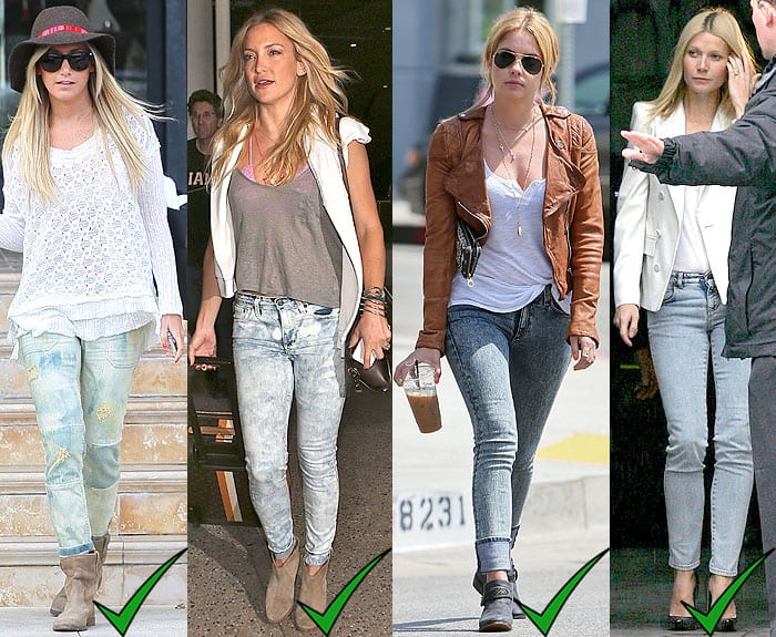 Ashley Tisdale leaving Barneys New York in Los Angeles, California, on March 7, 2013; Kate Hudson arriving at LAX Airport in Los Angeles, California, on September 21, 2014; Ashley Benson leaving Toast Bakery Cafe in Los Angeles, California, on May 9, 2013; Gwyneth Paltrow outside of the Stella McCartney fashion show held during Paris Fashion Week Spring/Summer 2010 Ready To Wear at the Palais de Tokyo in Paris, France, on October 5, 2009