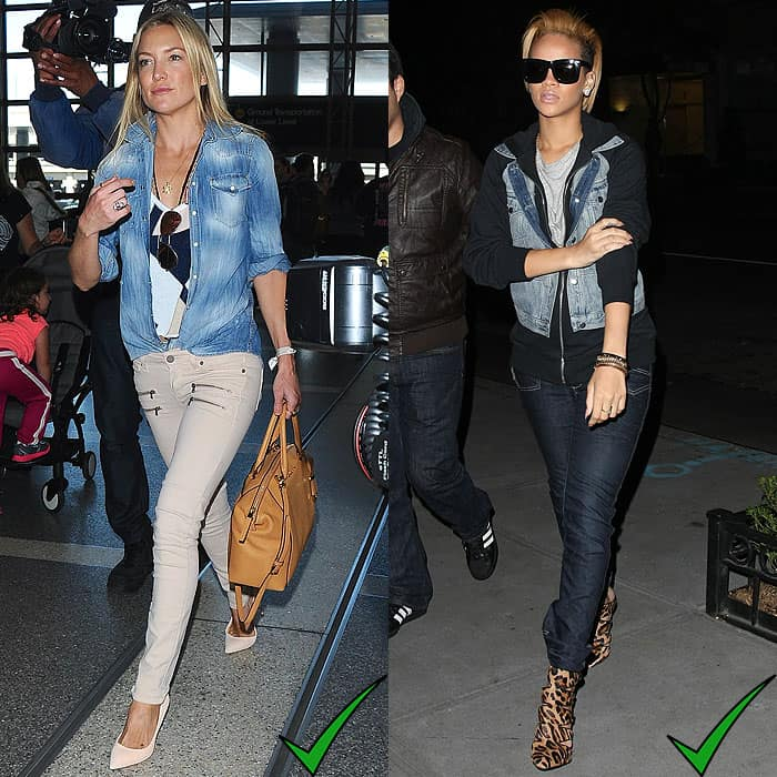 Kate Hudson arriving at LAX Airport in Los Angeles, California, on April 10, 2015; Rihanna out and about in Manhattan, New York, on November 2, 2009