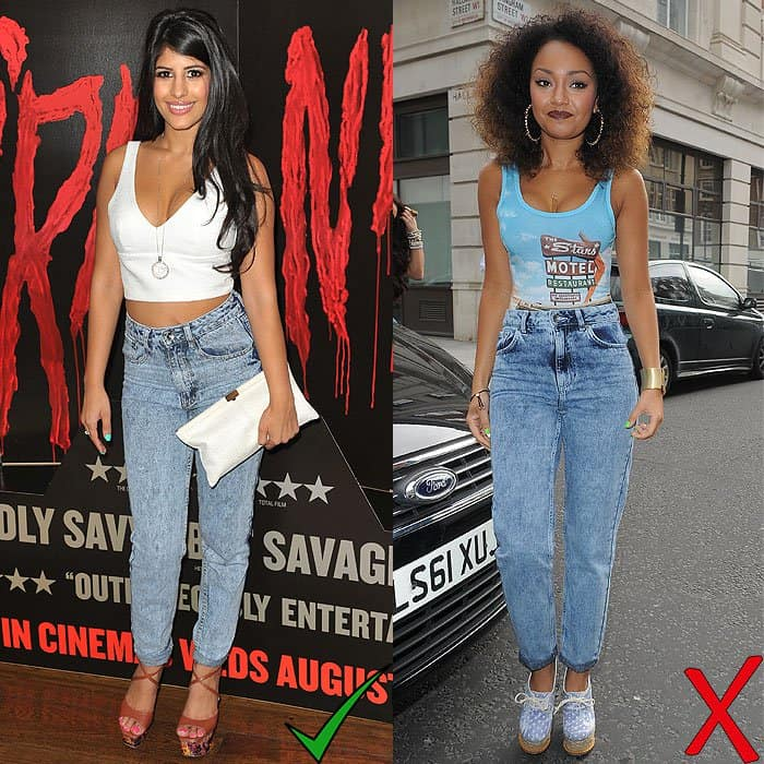 Jasmin Walia at the You're Next screening at the Soho Hotel in London, England, on August 13, 2013; Leigh-Anne Pinnock outside the BBC Radio 1 studios in London, England, on June 18, 2013