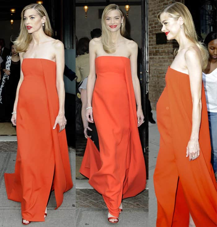 Jaime King in an orange Jason Wu for Hugo Boss dress leaves for the Met Gala