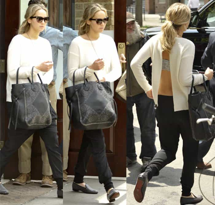 Jennifer Lawrence rocks Louis Leeman studded suede leather loafers