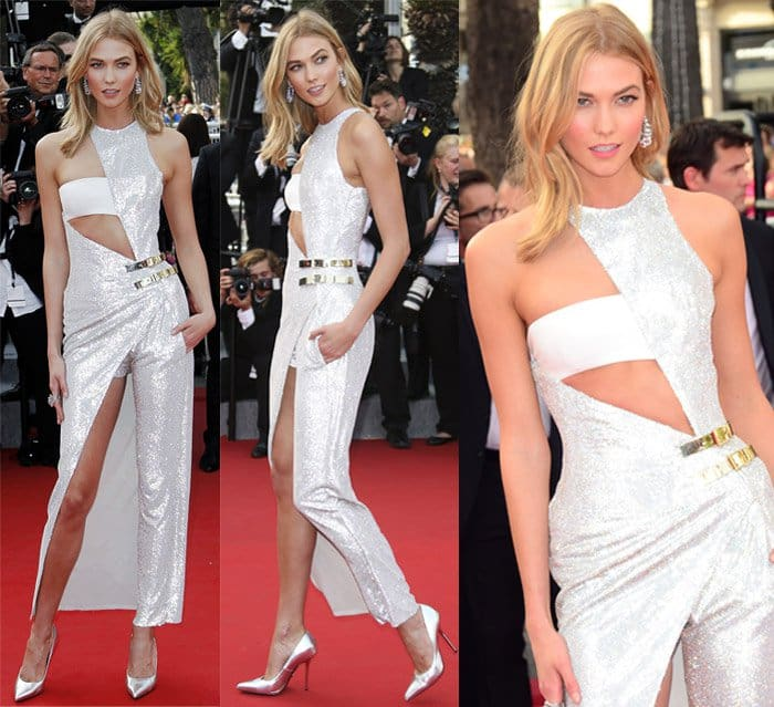 Karlie Kloss donned an Atelier Versace Haute Couture Fall 2014 jumpsuit