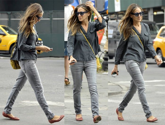 Sarah Jessica Parker walking in Soho on the morning after the Met Gala