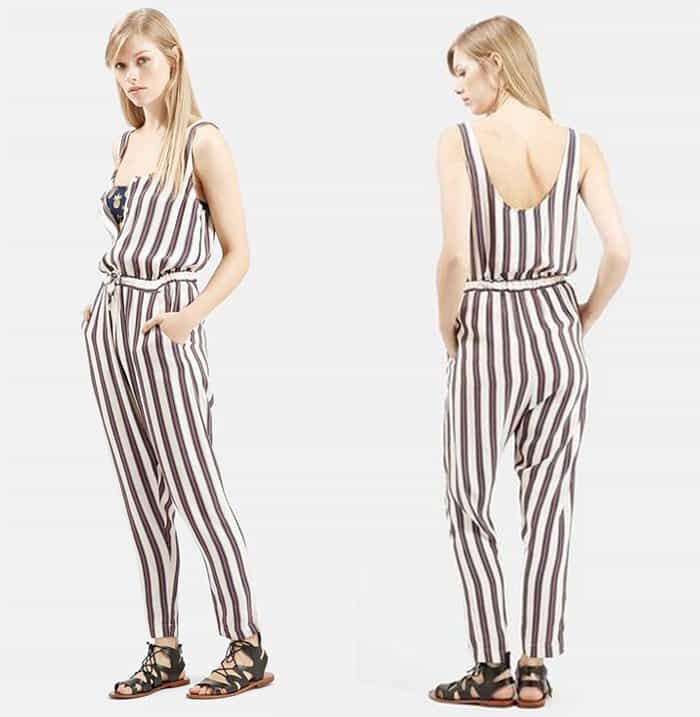 Topshop All in One Button Front Stripe Jumpsuit