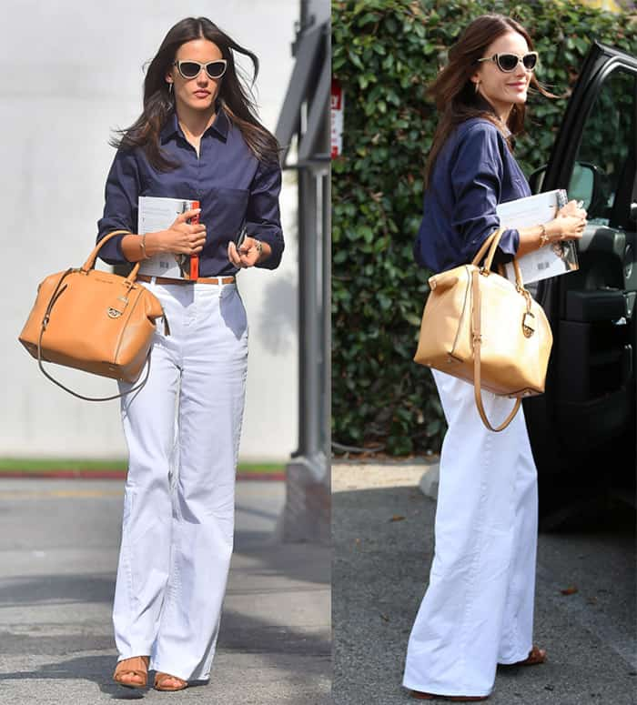 Alessandra Ambrosio leaves a business meeting in West Hollywood, Los Angeles, California on May 13, 2015