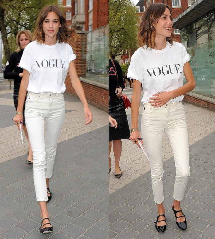 Alexa Chung arrives for the Vogue Festival 2015 event 'Fashion Parties and All-Out Glam: Olivier Rousteing and Alexa Chung' at the Royal Geographical Society in London on April 25, 2015