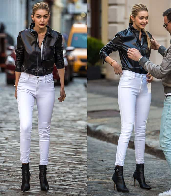 Gigi Hadid modelling on a photo shoot for Maybelline on the streets of New York on April 21, 2015