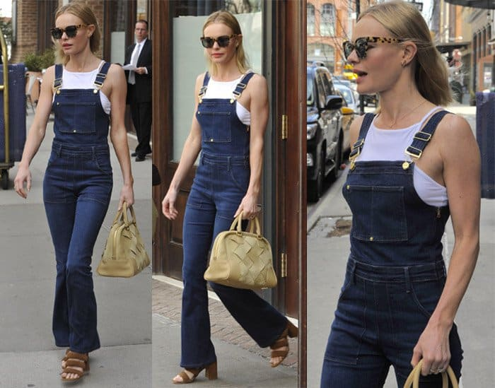"Kate Bosworth in Frame Denim ""Le High"" flare overalls"