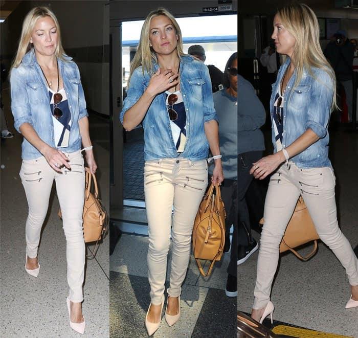 """Kate Hudson wears Paige """"Edmont"""" jeans in Montauk grey"""